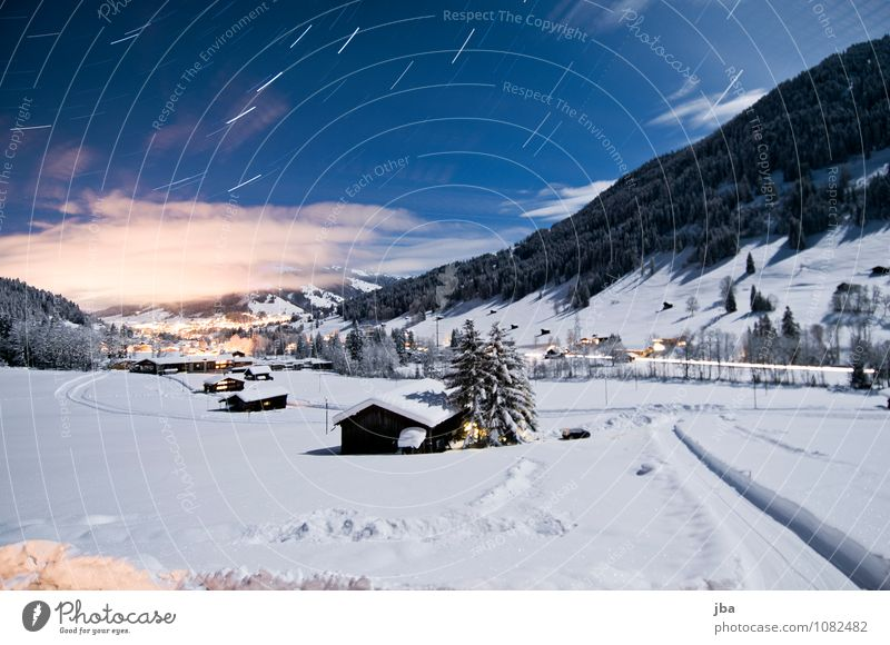 Nature Blue White Landscape Winter Mountain Movement Snow Time Stars Beautiful weather Elements Round Alps Hut Rotate