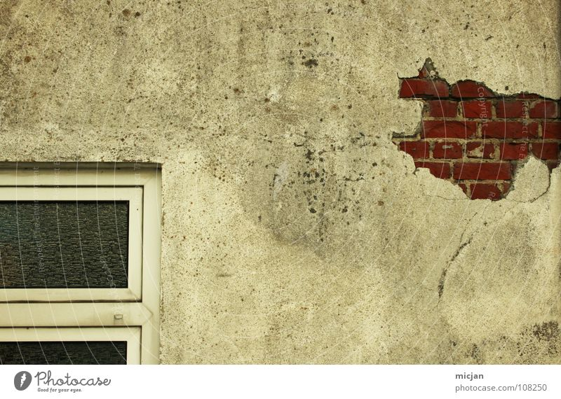 Old White Red House (Residential Structure) Work and employment Wall (building) Window Gray Stone Wall (barrier) Building Glass Design Broken Gloomy Industrial Photography