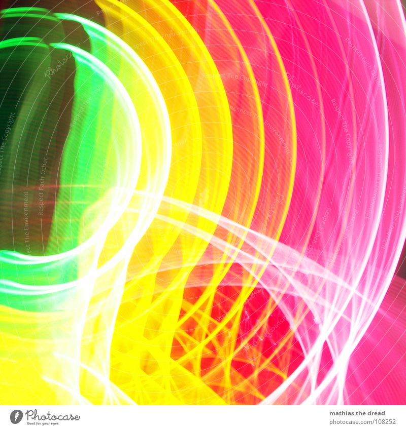 Colours 1 Multicoloured Green Yellow Red Pink Circle Light Geometry Edge Point White Long exposure annular Structures and shapes Line Blur