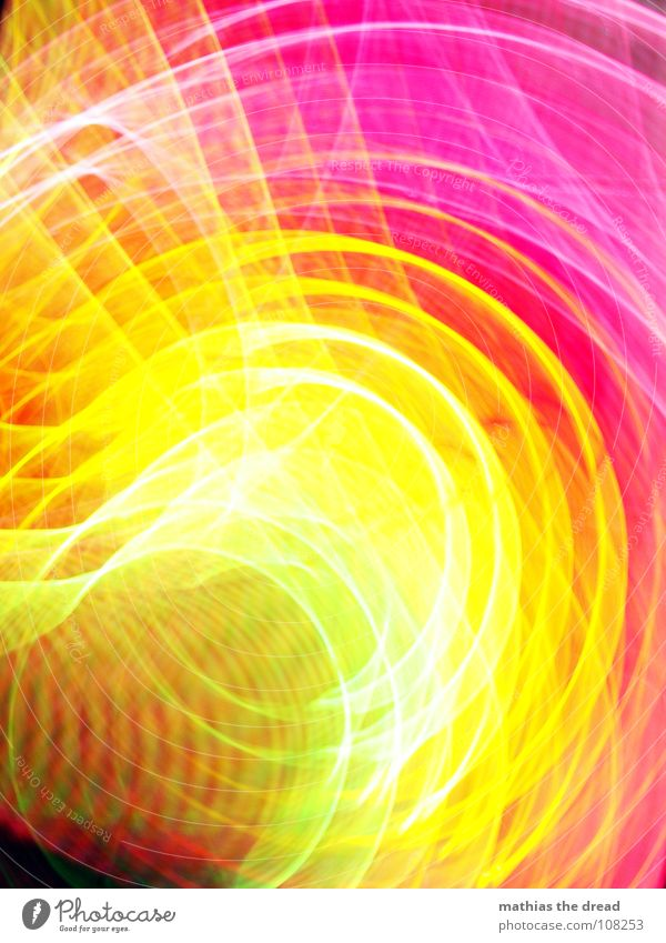 Colours 2 Multicoloured Green Yellow Red Pink Circle Light Geometry Edge Point White Long exposure annular Structures and shapes Line Blur