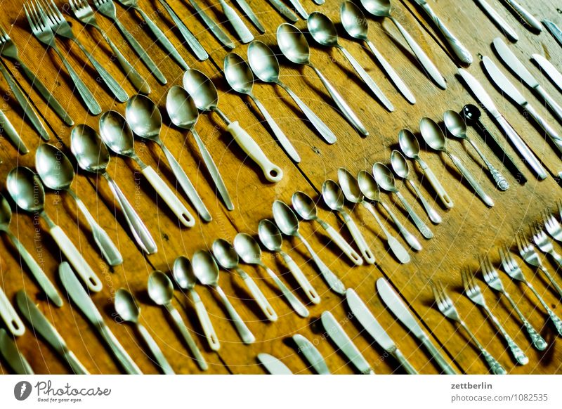 cutlery Cutlery Fork Spoon Knives set Row continuance Selection Crowd of people Visitor Guest Gastronomy Healthy Eating Dish Food photograph Meal Charity