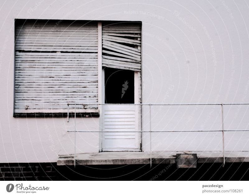 Old White Loneliness Wall (building) Window Wood Metal Dirty Glass Door Poverty Closed Broken Transience Derelict