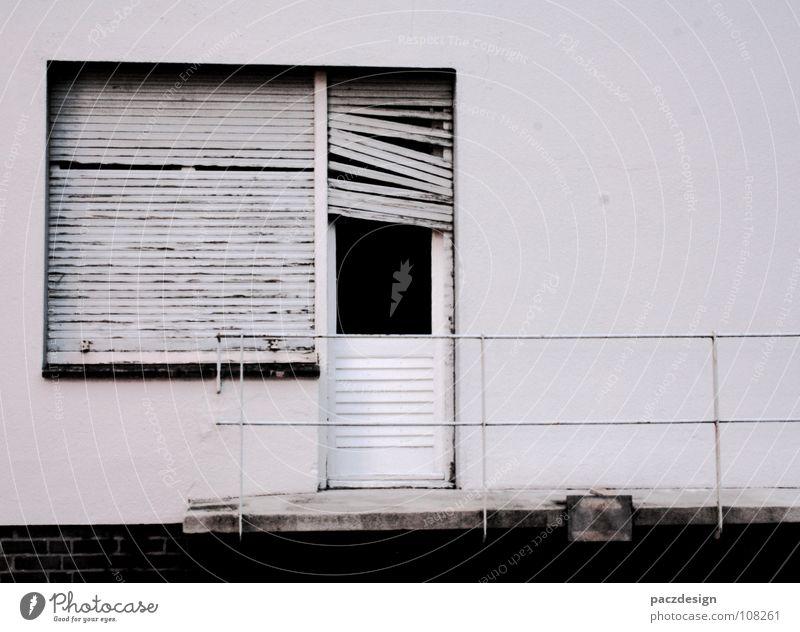 Old White Loneliness Wall (building) Window Wood Metal Dirty Glass Door Poverty Closed Broken Transience Derelict