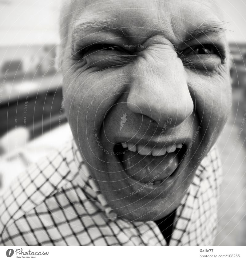 Huh? Portrait photograph Man Scream Loud Crash Distorted Funny Eerie Fisheye Joy grimm Face Looking Perspective agressive Facial expression