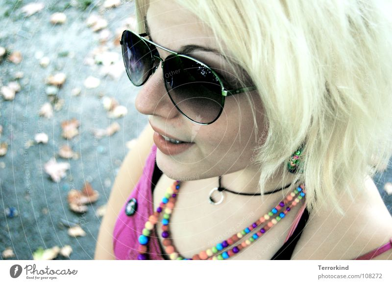 Woman Joy Leaf Street Autumn Happy Laughter Mouth Blonde Arm Pink Nose Teeth Eyeglasses Dress Kitsch