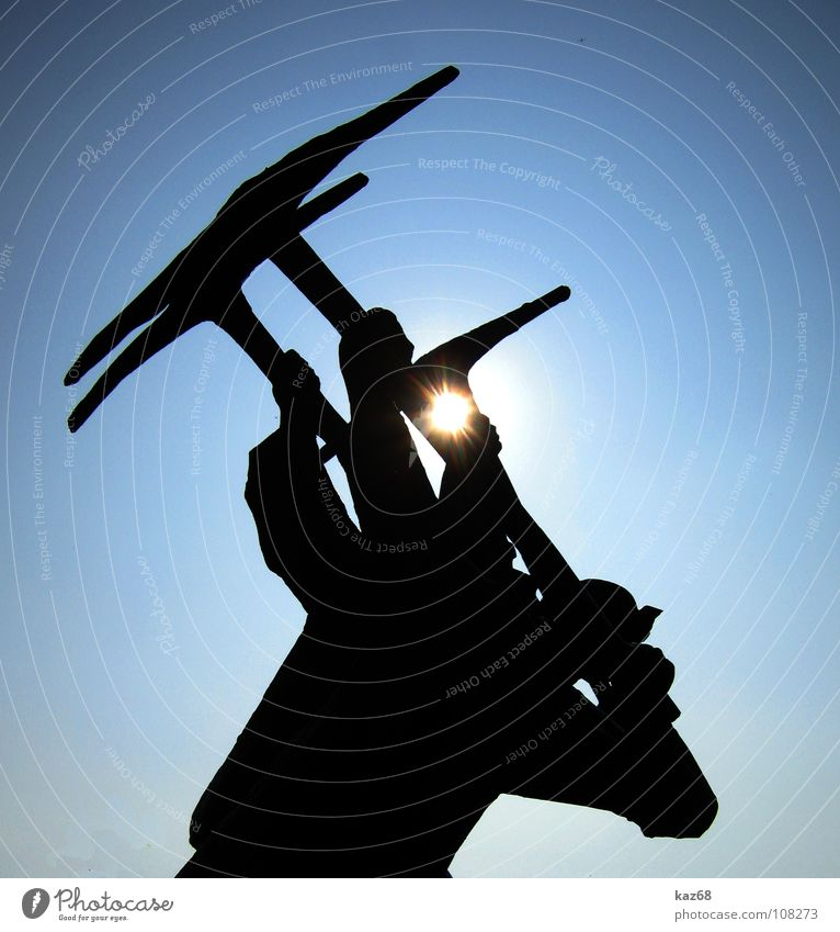 Sky Man Blue Sun Black Work and employment Power Background picture Coal 3 Energy industry Working man Industry Technology Strong Monument