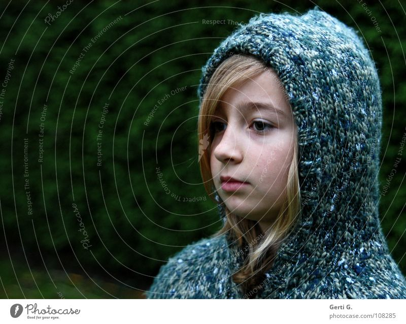 Child Youth (Young adults) Blue Green Girl Winter Calm Face Cold Snow Warmth Think Blonde Rope Clothing Frost