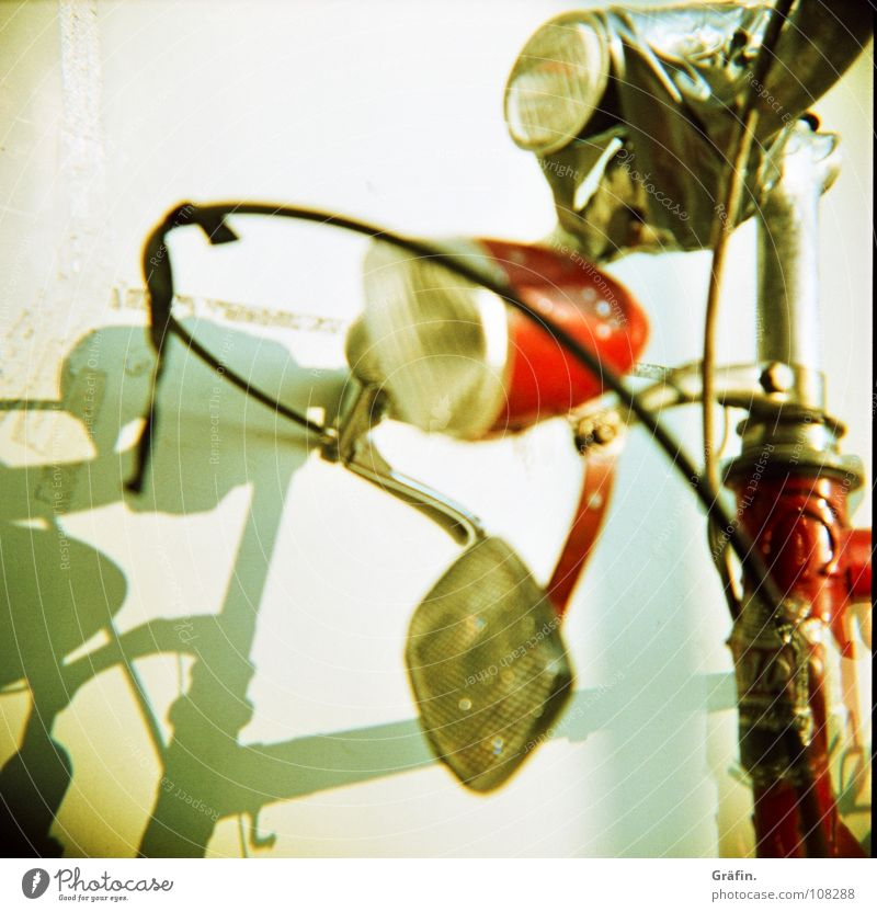 shamanism Wall (building) Broken Bicycle Scrap metal Driving To fall Lamp Reflector Steel White Red Adhesive tape Stick Stuck on Badge Hannover Lomography