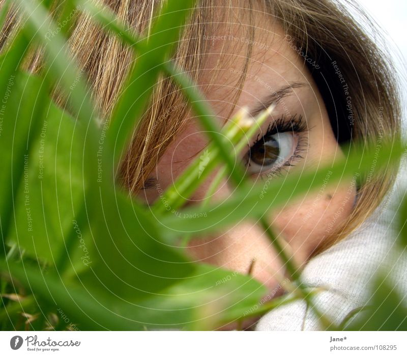 Woman Nature Green Beautiful Sun Summer Face Eyes Meadow Emotions Grass Hair and hairstyles Think Brown Longing Delicate