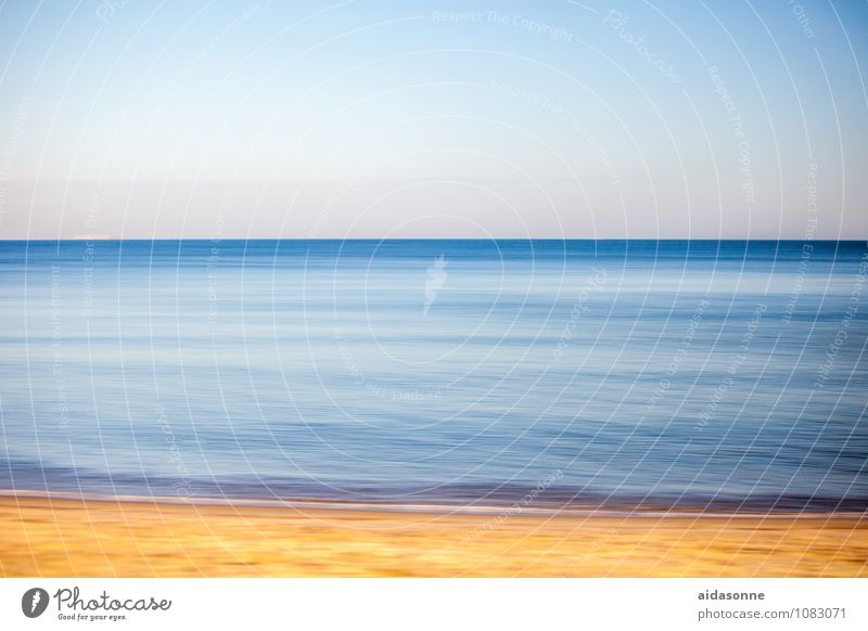 Baltic Landscape Water Sky Cloudless sky Waves Baltic Sea Contentment Power Attentive Purity panning Camp follower Photographic technology Blue Yellow