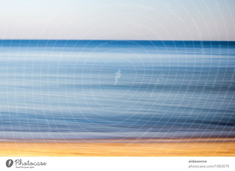 Baltic Landscape Water Waves Beach Baltic Sea Attentive panning Photographic technology Camp follower Yellow Blue Heaven Colour photo Exterior shot Deserted