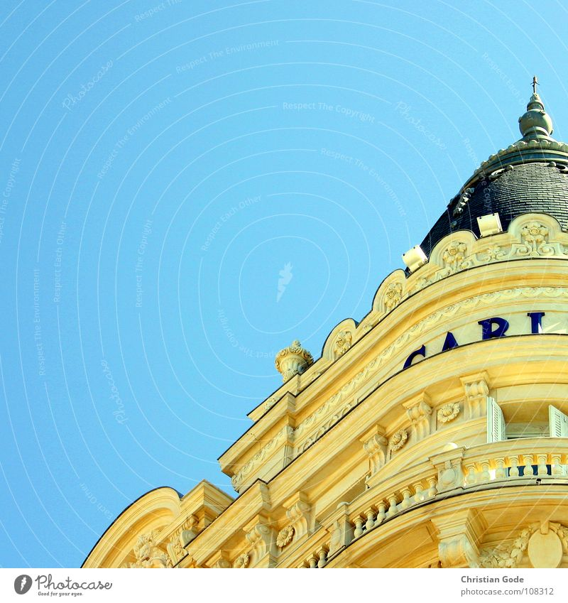 Sky Blue Beach Vacation & Travel Yellow Coast Tourism Hotel Monument Balcony France Landmark Handrail Rich Promenade Noble