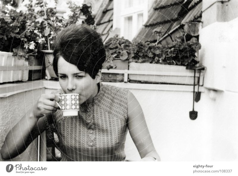 ain't my cup of tea Drinking Breakfast Balcony Sixties Black White Retro Hair and hairstyles Brunette Black & white photo Coffee Tea Nutrition