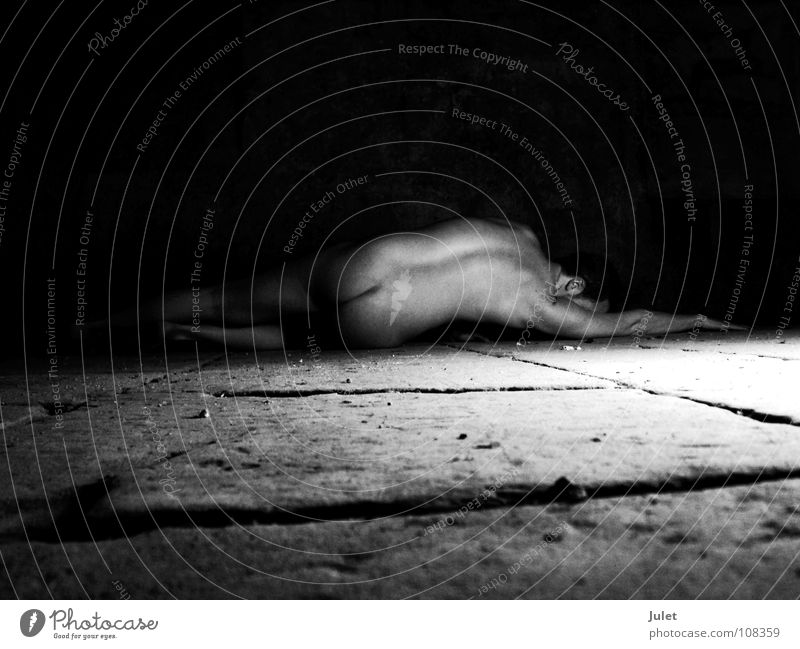 In the vaulted cellar Naked Man Masculine Fellow Nude photography Floor covering Back Perspective Guy Stone floor Dark background Bottom Rear view Lie