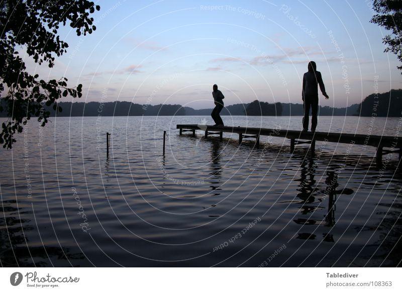 Man Water Calm Forest Lake Contentment Waves Fog Footbridge Pond
