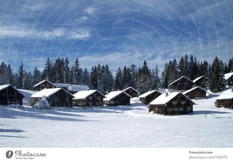hut magic Winter Tree Clouds Snow Hut Landscape Idyll Sky