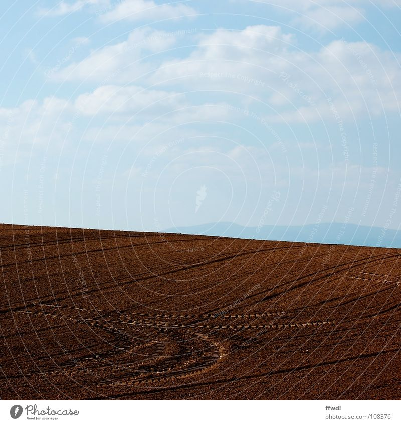 Sky Clouds Sand Brown Field Earth Floor covering Tracks Agriculture Furrow Tractor Puristic Plowed