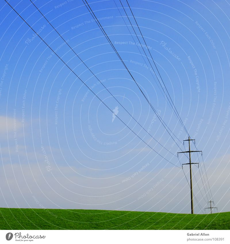 Sky Blue Autumn Meadow Industry Cable Switzerland Electricity pylon Minimal Minimalistic