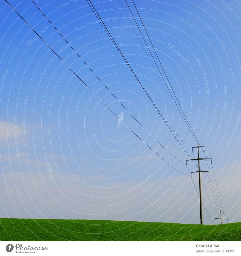 Sky Blue Autumn Meadow Industry Cable Switzerland Electricity pylon Minimal Minimalistic