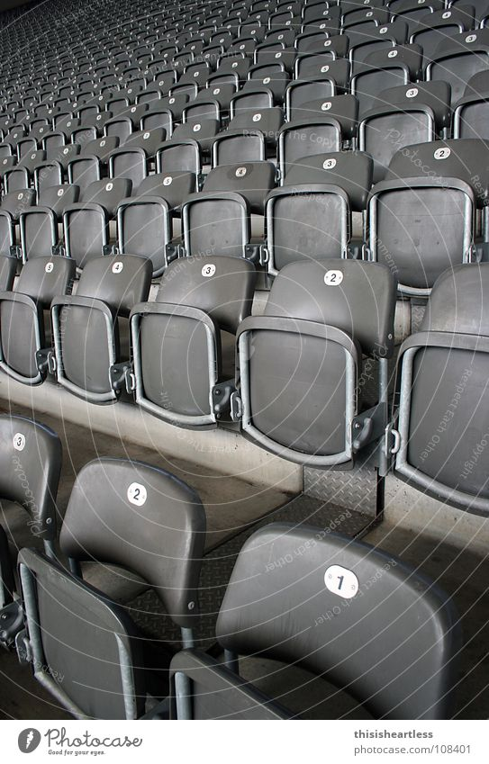 Take a seat Society Calm Detail Row Arrangement Auditorium Stands Digits and numbers 1 2 Folding chair Row of seats Pattern Narrow Maximum Steep Go up Tilt