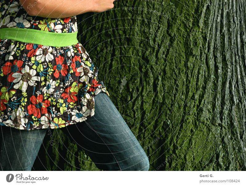 Woman Nature Old Tree Flower Green Emotions Movement Line Legs Arm Going Might Jeans T-shirt Round