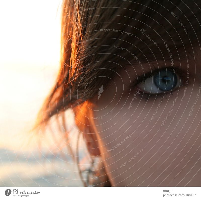decisive view _ Woman Soft Physics Amazed Looking Warm colour Wearing makeup Light Make-up Pure Clean Eyeliner Eyelash Mascara Cold Discordant Grief Ocean