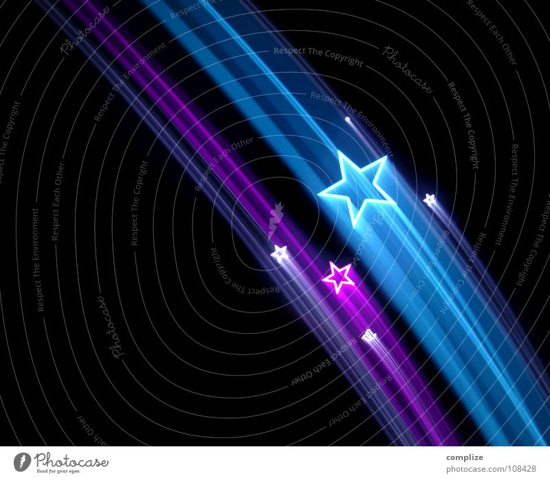 Blue Christmas & Advent Dark Black Art Design Illuminate Star (Symbol) Stripe Card Violet Kitsch New Year's Eve Seventies Light show
