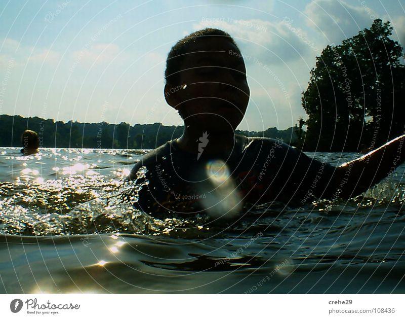 Human being Child Nature Water Sky Sun Green Blue Summer Joy Vacation & Travel Black Lake Waves Skin