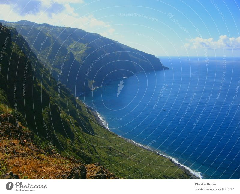 long island Cliff Coast Ocean Horizon Madeira Beach Sky blue water Far-off places