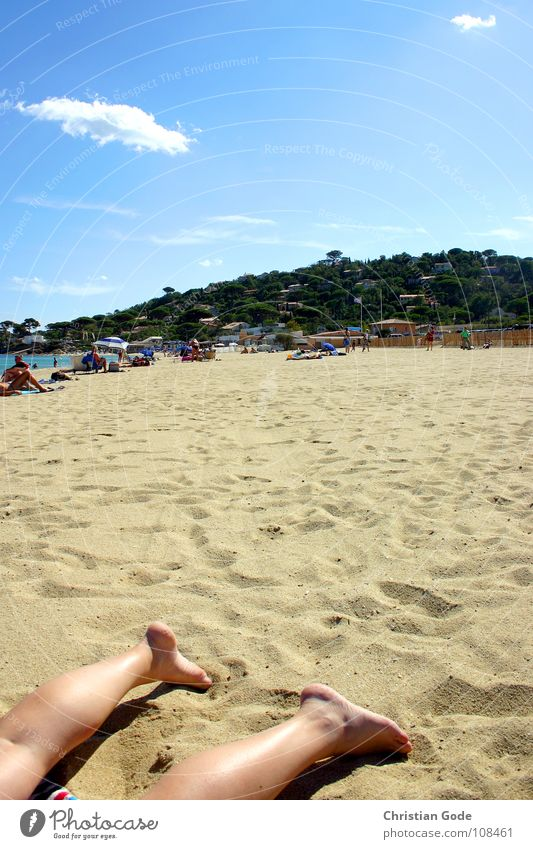 Woman Sky Vacation & Travel Ocean Beach Relaxation Sand Coast Legs Feet Sunshade Sunbathing France Towel Corpse Southern France