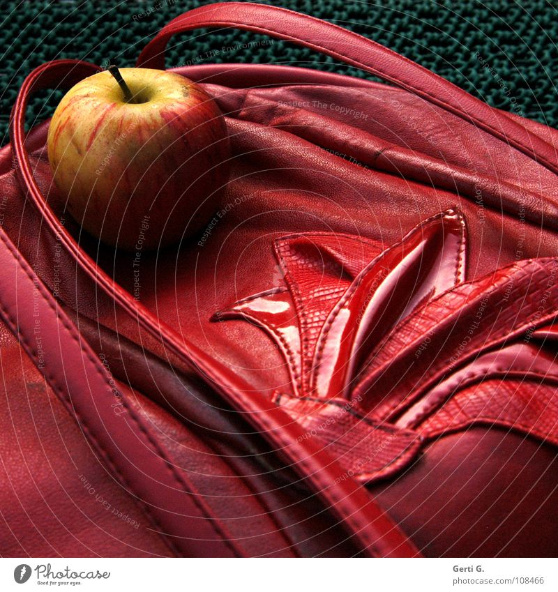 apple turnover Bag Synthetic leather Snakeskin Pattern Chic Red Handbag Carry handle Soft Autumn Crunchy Yellow Sweet Delicious Nutrition Stitching Fruit
