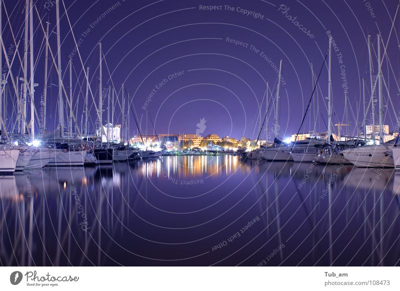 harbor Sport boats Jet set Relaxation Port Harbour denia spain calm silent quiet haven water purple mirror night blue reflection blurry blurred reflecting water