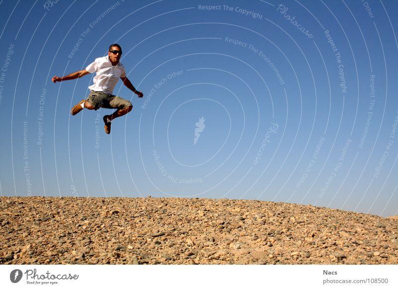 desert jump Jump Force Easy Small Hover Motionless Man Hop Egypt Sunset Loneliness Calm Progress Azure blue Gravel Brown Yellow Round Air Fresh Emotions Summer