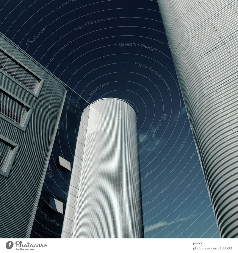 Sky Blue Cold Window Building Work and employment Glass Facade Modern Success Perspective Industry Tower Round Mask Steel