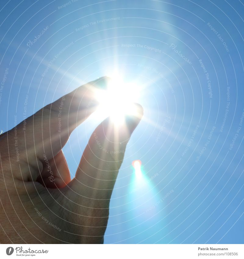 Sky Hand Blue Sun Summer Playing Happy Glittering Stars Fingers Precious stone Planning Nature Star (Symbol) Back-light Catch