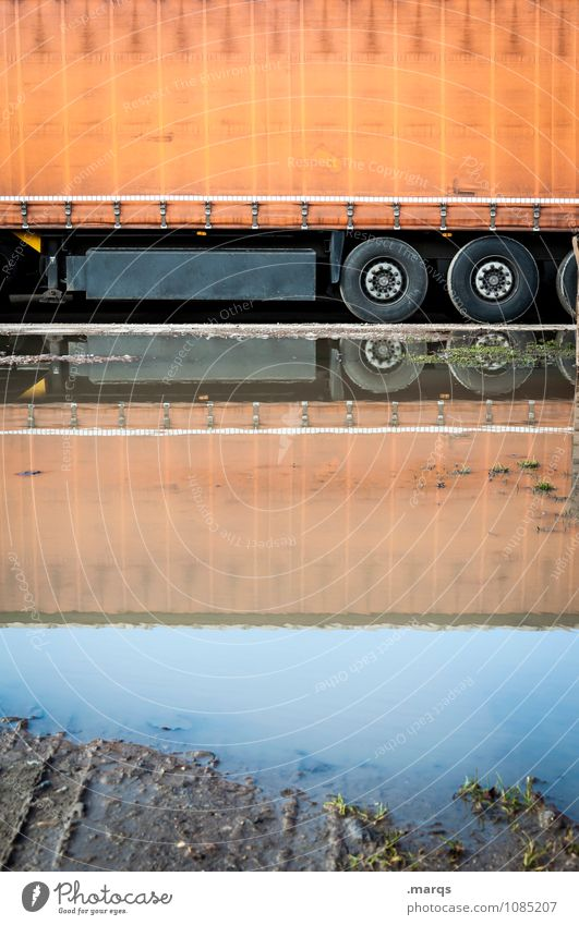 LORRY Work and employment Logistics Puddle Transport Truck Stand Perspective Symmetry Date Colour photo Exterior shot Deserted Copy Space top Copy Space middle