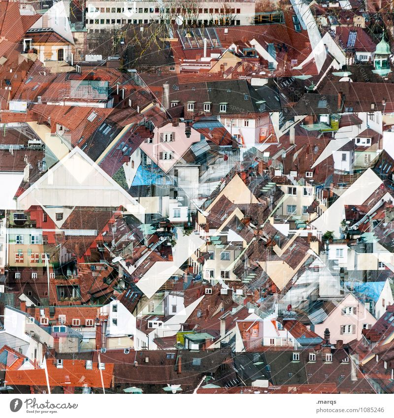 Overpopulated Freiburg im Breisgau Downtown House (Residential Structure) Living or residing Exceptional Many Crazy Chaos Perspective Double exposure
