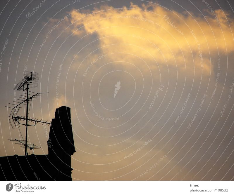 Beautiful Sky Clouds Metal Communicate Roof Television Connection Radio (broadcasting) Antenna Media