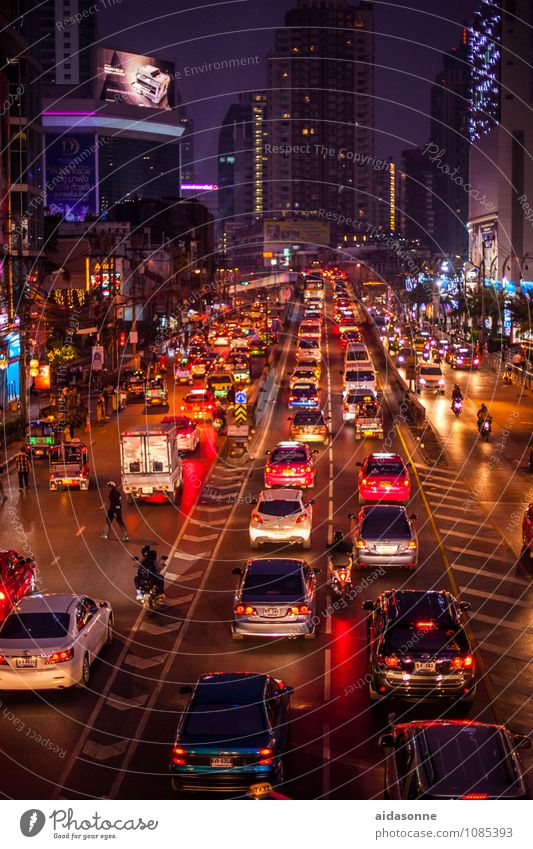 Bangkok Thailand Asia Capital city Downtown Building Architecture Transport Road traffic Traffic jam Street Vehicle Car Taxi Truck Convertible Limousine