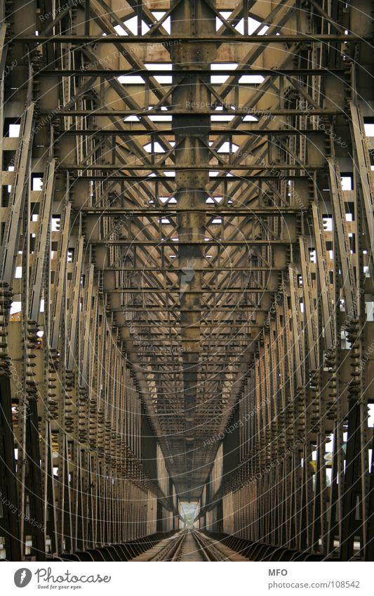 Iron ribs Steel Railway bridge Budapest Direct Tunnel Infinity Far-off places Bridge Metal Scaffold Railroad Gloomy Line