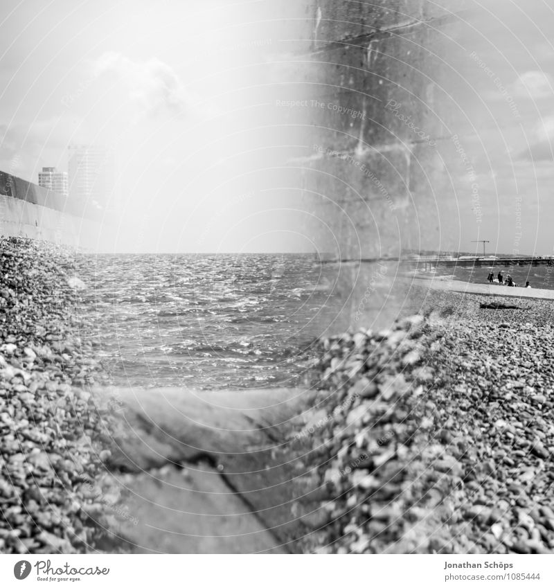 Brighton VI Environment Nature Landscape Beautiful weather Esthetic England Beach Pebble beach Reflection Prism Abstract Experimental Health Spa