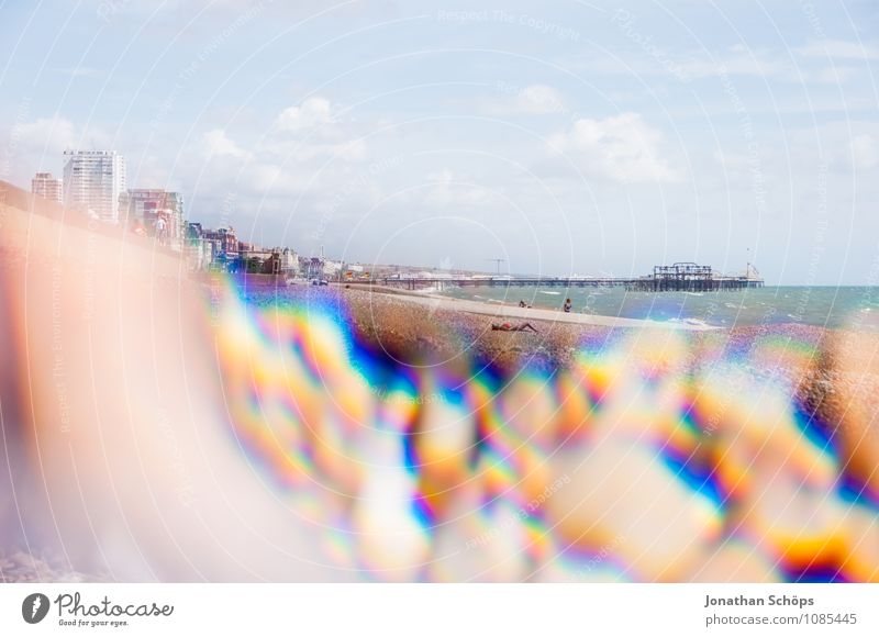 Brighton VII Beautiful weather Esthetic England Beach Pebble beach Reflection Prism Abstract Experimental Health Spa Vacation destination Vacation & Travel