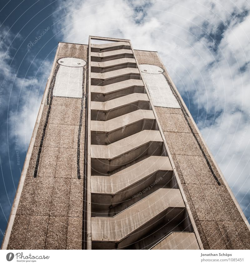 Sky City House (Residential Structure) Graffiti Art City life Stairs High-rise In pairs Esthetic Illustration Skyline Staircase (Hallway) Downtown Height Artist