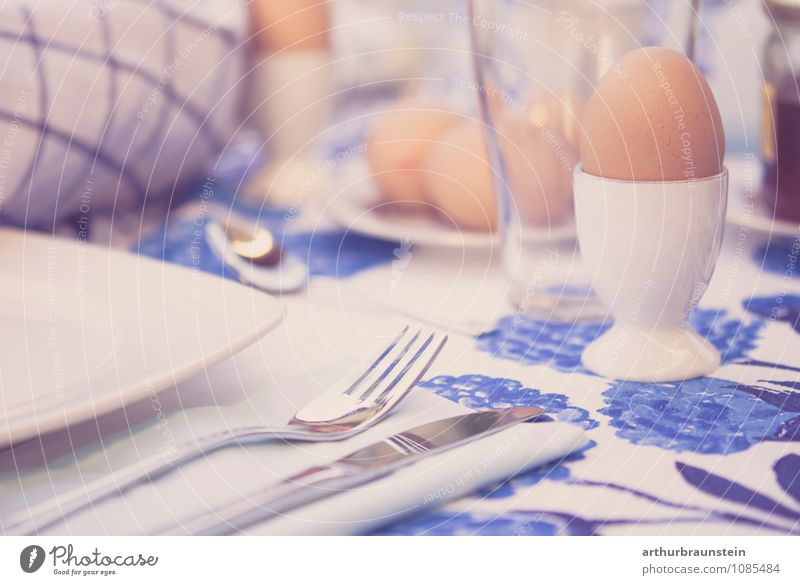 Breakfast outside Food Nutrition Crockery Plate Glass Cutlery Knives Fork Lifestyle Garden Beautiful weather Terrace Eating To enjoy Healthy Delicious Blue