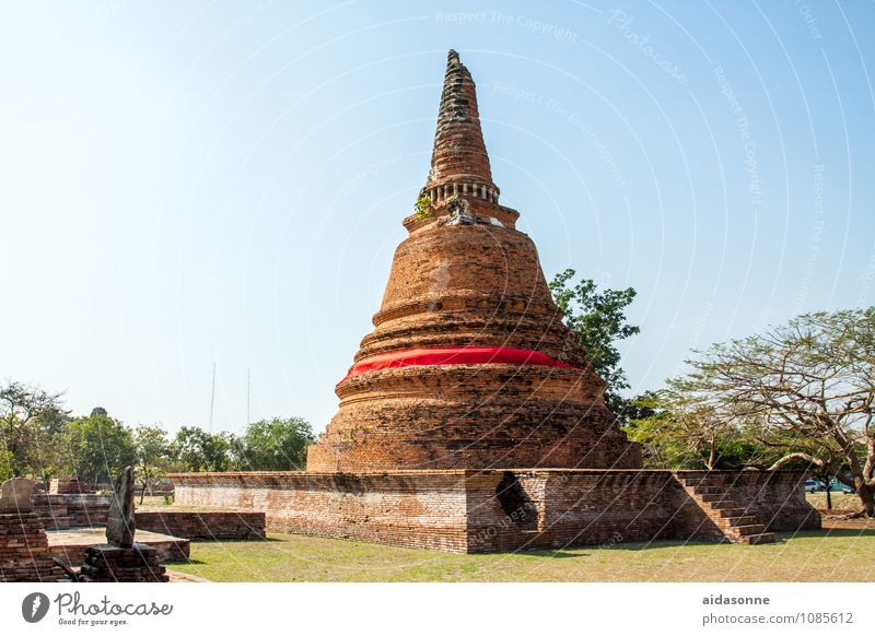 Ayutthaya Pagoda Thailand Small Town Ruin Tourist Attraction Moody Contentment Attentive Watchfulness Serene Calm Colour photo Exterior shot Day Sunlight