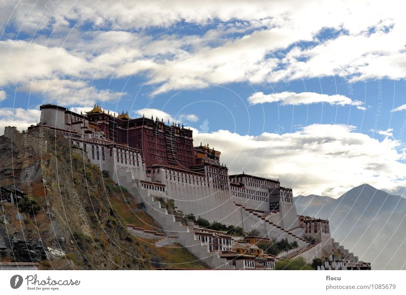 Potala Palace in Lhasa, Tibet, former home of the Dalai Lama Vacation & Travel White Red Yellow Mountain Architecture Building Religion and faith Art Tall
