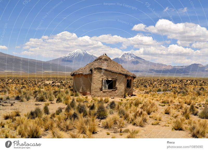 Typical Bolivian house with volcanoes in National park Sajama Sky Nature Vacation & Travel Blue Landscape Clouds House (Residential Structure) Mountain Snow Stone Brown Horizon Park Idyll Cool (slang) Hill