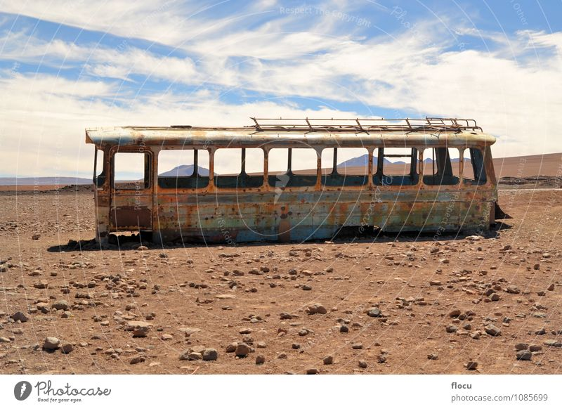 Abandoned bus in the desert, Atacama, Chile, Bolivia Sky Vacation & Travel Old Red Landscape Street Funny Brown Bright Car Earth Transport Idea Retro Rust