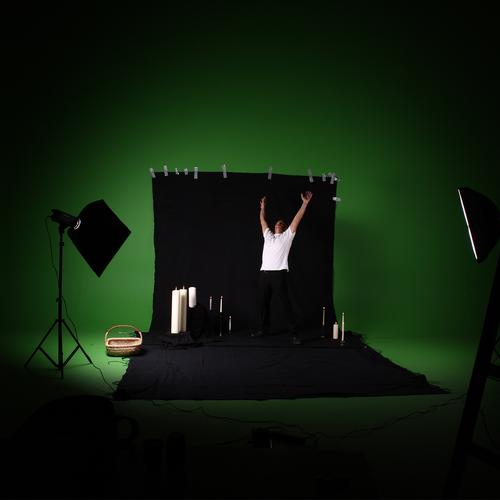 Green Screen Abuse. Workshop Black Candle Photography Background picture Adhesive tape Basket Tripod Illuminate Softbox Humor Production Preparation