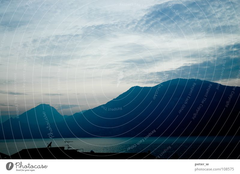 Water Sky Blue Clouds Mountain Lake Landscape Fog Italy Dusk Antenna Mountain lake Lake Garda Satellite dish